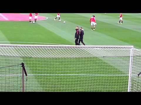 Van gaal walking on to old Trafford