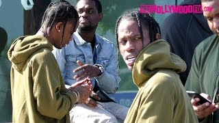 Travis Scott Rolls & Smokes 2 Blunts With Friends In Front Of Maxfield On Melrose Ave. 3.24.17