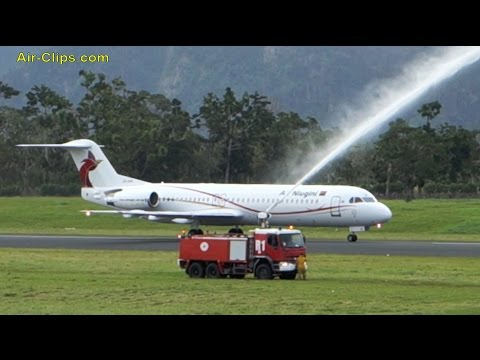 Air Niugini Fokker F100, 24 June 2015:First flight's landing in Vanuatu from Port Moresby [AirClips]