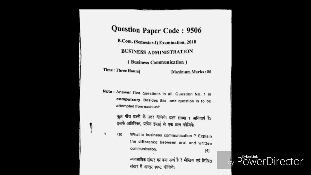 Business communication important latest question paper