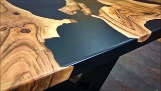 Epoxy Resin river Table. Стол из слэбов с эпоксидной смолой.