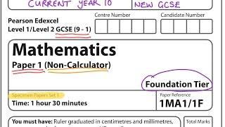 NEW SPEC (9-1) GCSE 2017 Set 1. Paper 1. FOUNDATION. NON CALCULATOR