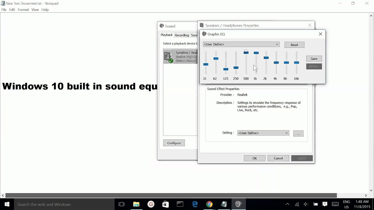 Windows 10 Built In Sound Equalizer Youtube