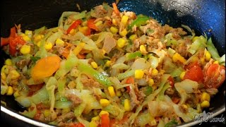 Fried Up White Cabbage With Tuna At Home | Recipes By Chef Ricardo