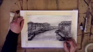 Venice Canal Buildings Charcoal Drawing by Peter Taylor Ward
