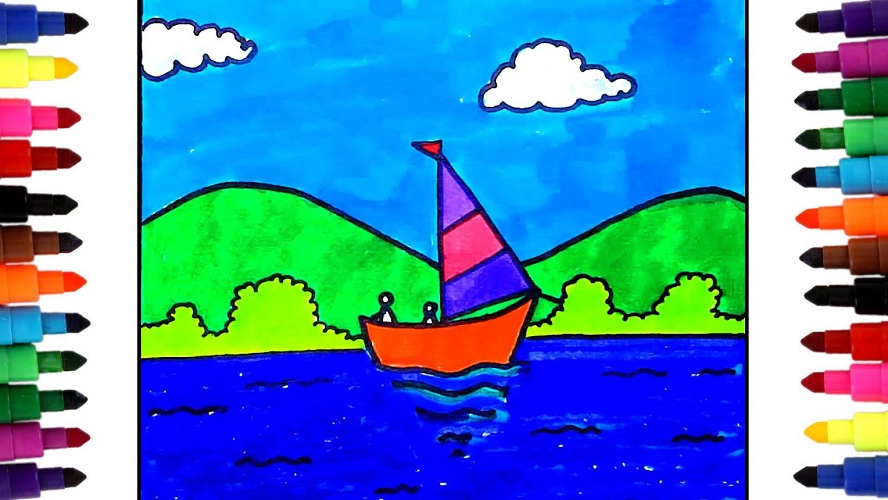 How To Draw Nature For Kids Learning Simple Scenery Drawing With Colors For Children