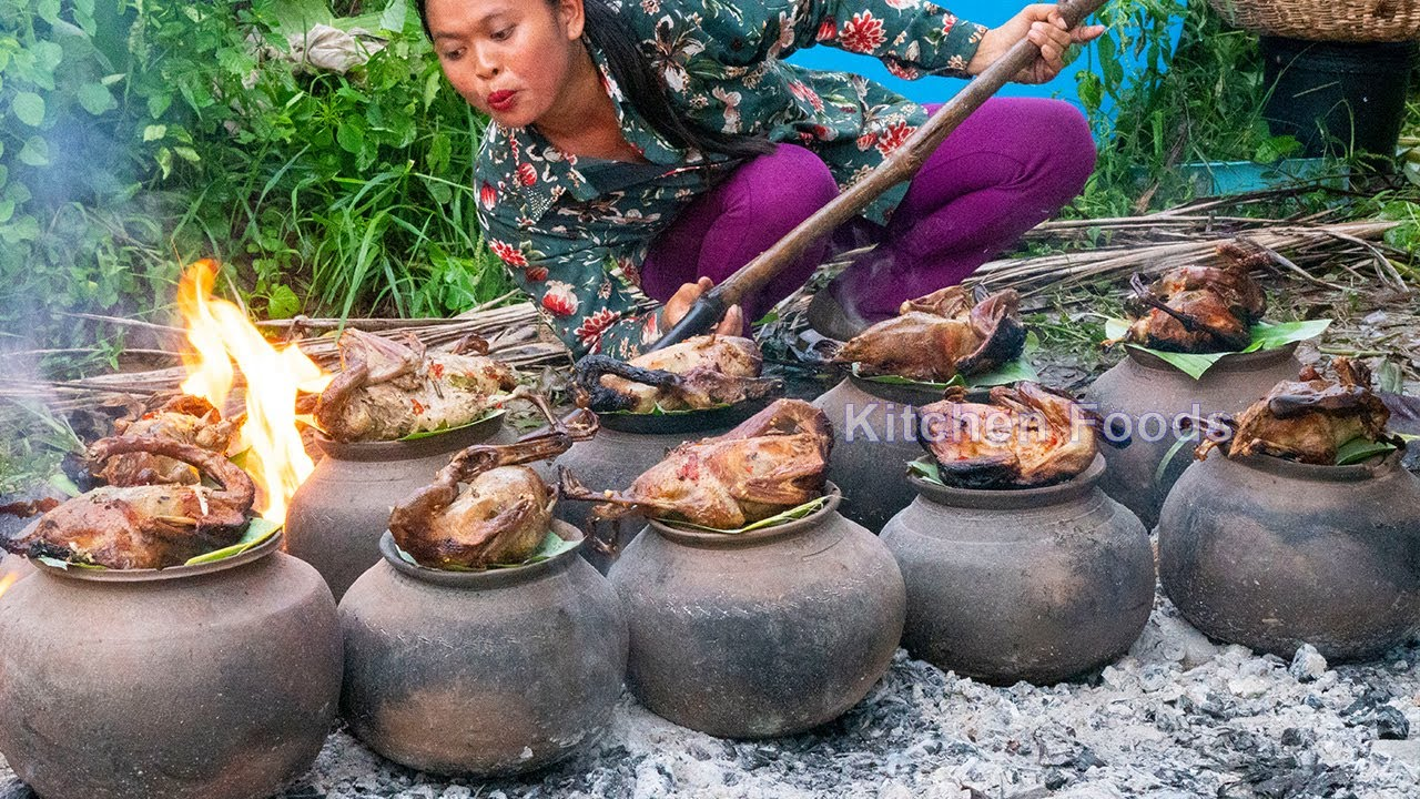 Roasted 20 Ducks with Balut Eggs and Weaver ant Recipe in Pottery Clay - Cooking & Donation Food