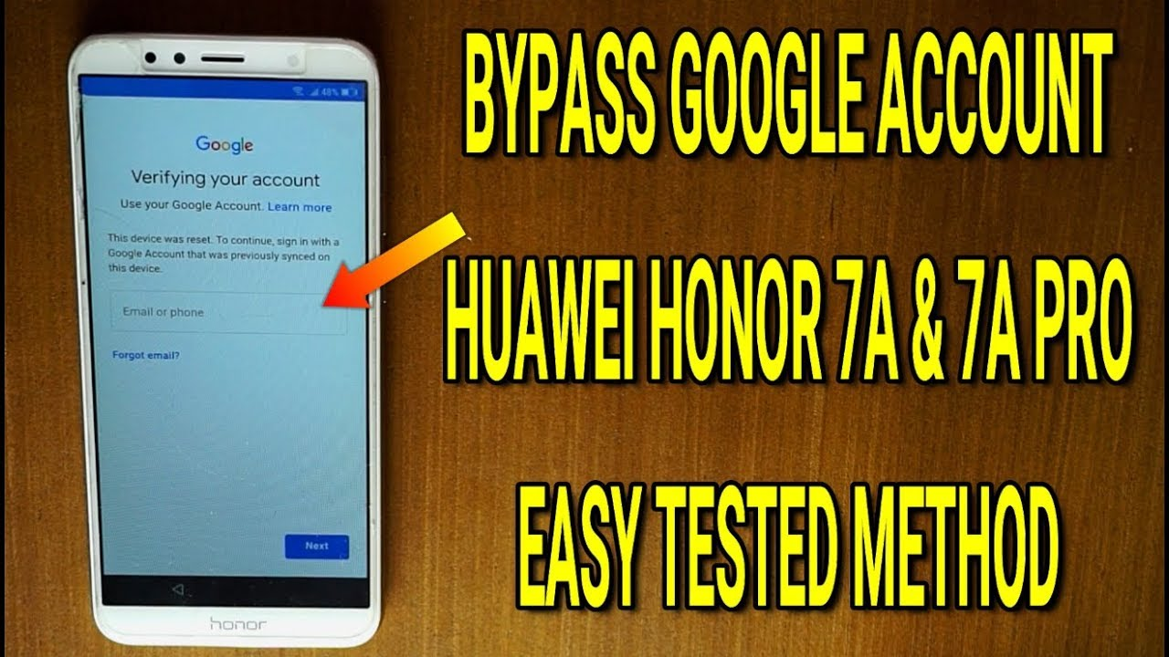 Huawei Honor 7A (7A Pro) bypass frp google account protection 2019 without  pc