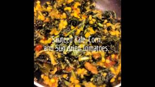 Sauteed Kale With Corn, Sun Dried Tomatoes, And Shrimp