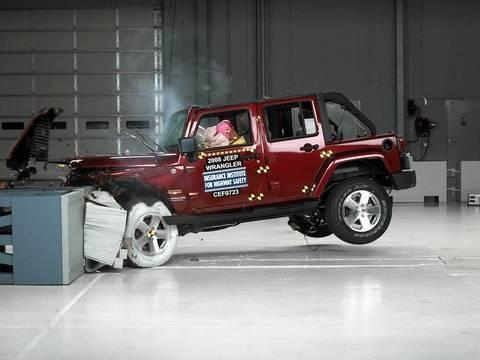 2008 Jeep Wrangler 4 Door Moderate Overlap IIHS Crash Test   YouTube