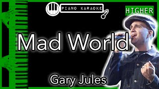 Mad World (HIGHER +3) - Gary Jules - Piano Karaoke Instrumental