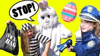 Pretend Play Cops and Robbers Easter Bunny has Robber LOCKED UP in Jail by Police! Ava Isla Olivia