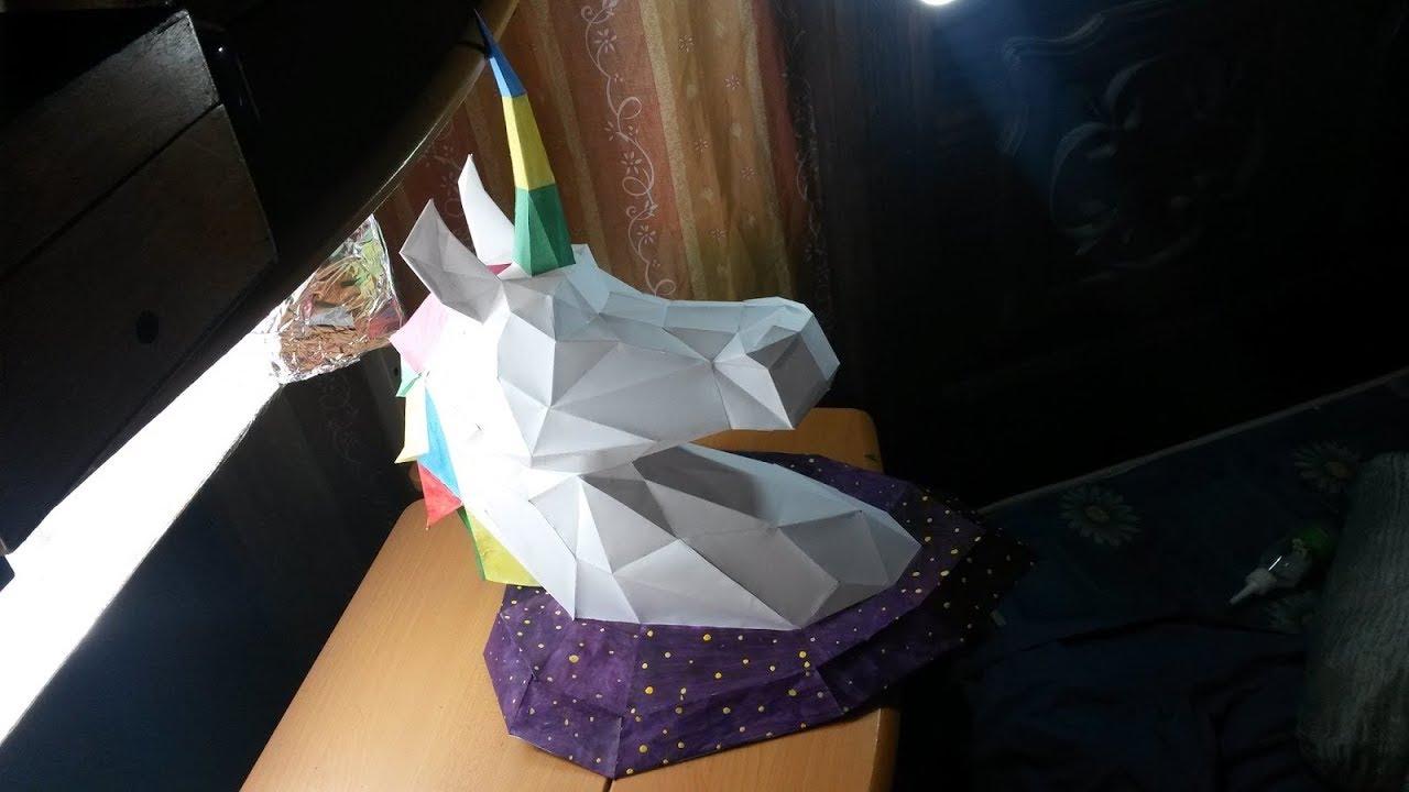 C mo hacer un unicornio de pared con papel papercraft - Plantillas para la pared ...