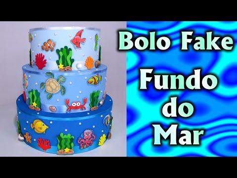 Decoração Bolo Fake - Fundo do Mar (Falso/Cenográfico)para #Festa / Fiesta /Kids Party / Ideias
