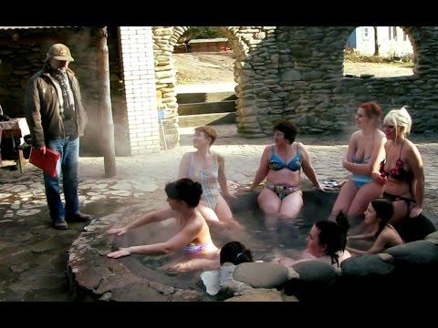 Вот так мы парились в чанах с минеральной водой в Карпатах. Vats in the village Lumshory
