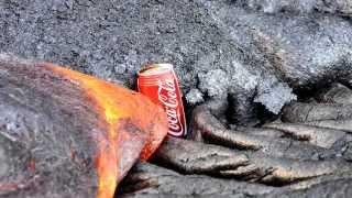 Esto pasa si pones un lata de coca cola en la lava