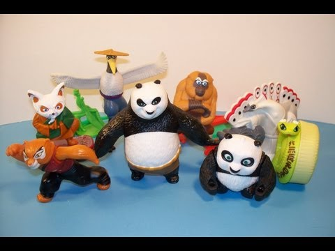 2011 kung fu panda 2 set of 8 mcdonalds happy meal toys video review