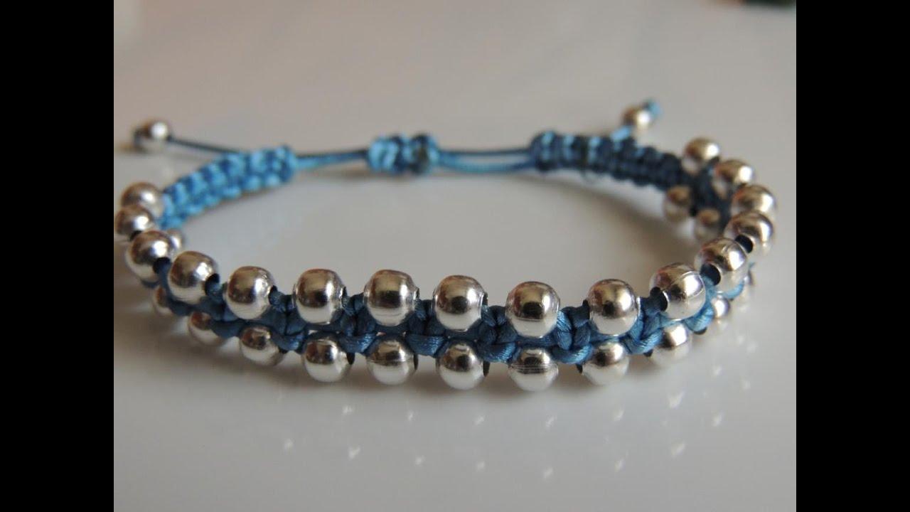 d42418650af4 DIY Tutorial como hacer una pulsera de macrame estilo shamballa con bolas  plateadas. bracelet beads.