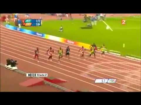 Usain bolt - 100m WR 9.69  - Commentaire français - Pekin (2008)