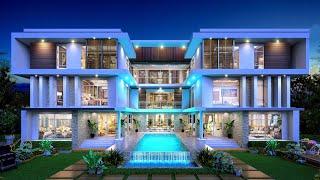 Проект дома в стиле хай тек. Дом с бассейном, террасой и панорамными окнами. Ремстройсервис V-1095