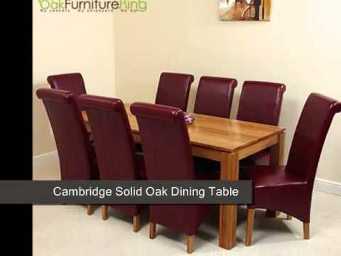 Cambridge Solid Oak Dining Table U0026 8 Burgundy Leather Chairs