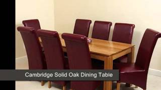 Cambridge Solid Oak Dining Table & 8 Burgundy Leather Chairs