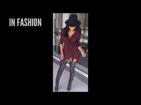 Outfit Súper Sexy Con Botas Largas De Piel Vestido Y Sombrero Vintage