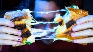 ASMR SPICY N'DUJA GRILLED CHEESE * no talking eating cooking sounds *  | Nomnomsammieboy