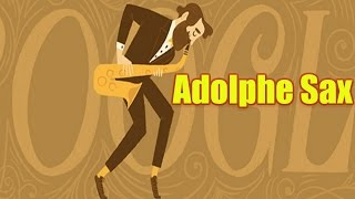 Adolphe Sax Google Doodle.  201st Birthday of Saxophone Inventor.