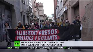 Mass rallies in Catalonia calling for release of political leaders
