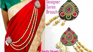 How to make Designer Saree Brooch | Party Wear Brooch | Made out of Paper|Tutorial By Knotty Threadz
