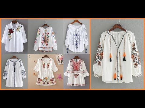 Embroidered white blouses for women=Casual cotton embroidered tops