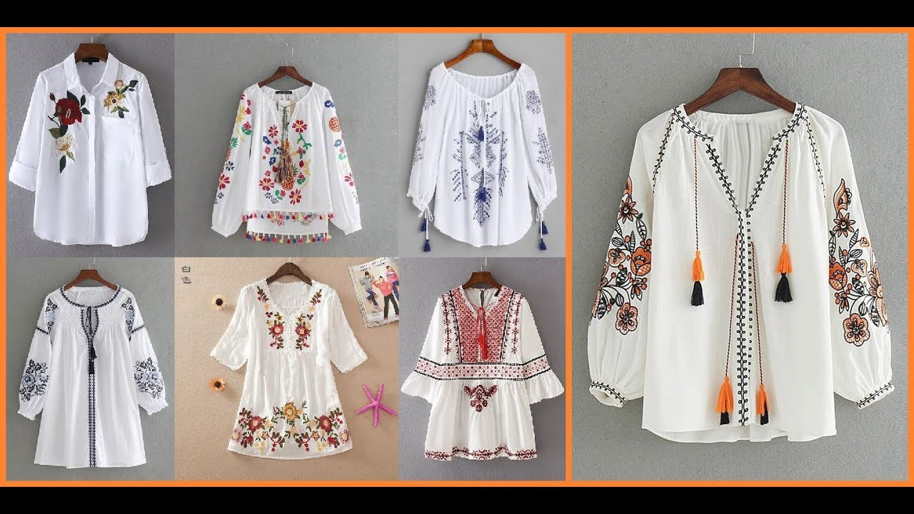 Embroidered white blouses for women casual cotton embroidered tops