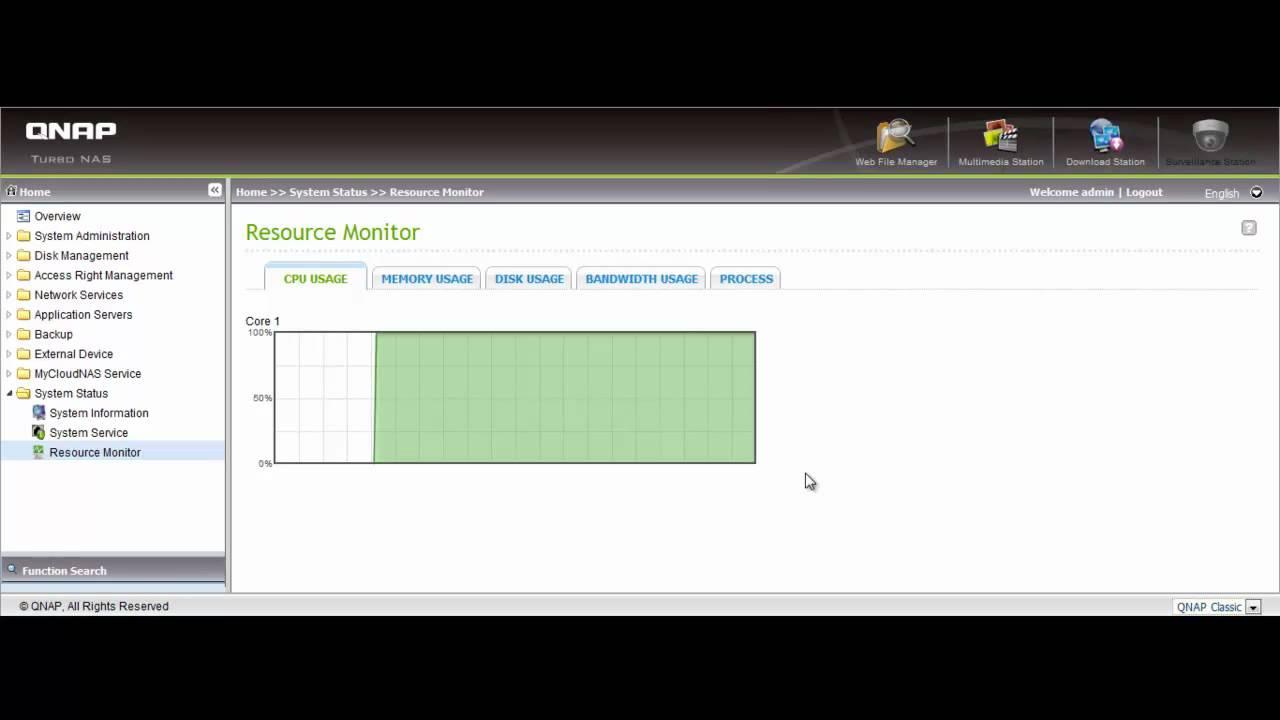 QNAP Turbo NAS Resource Monitor