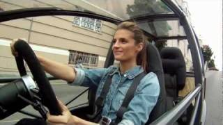 Stana Katic takes a drive in Arcimoto's Generation 5 prototype