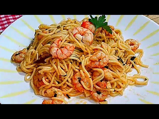 Espaguetis Con Gambas Al Ajillo Receta Facil Rapida Y Riquisima A Mi Manera Youtube