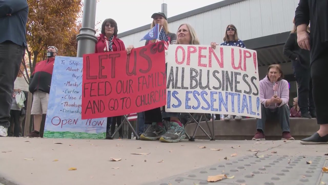 Over 100 gather in front of the Fresno County Health Department to call on officials to 'Open C
