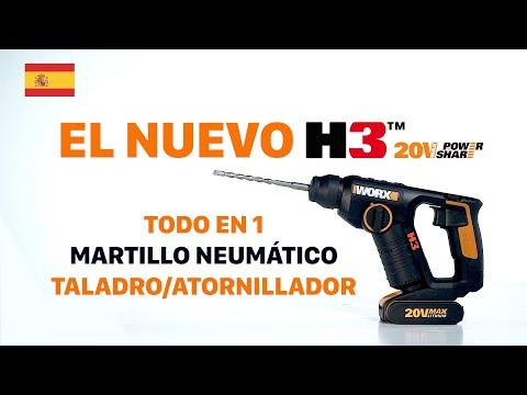 WORX WX394 H3 MARTILLO NEUMÁTICO/TALADRO/ATORNILLADOR
