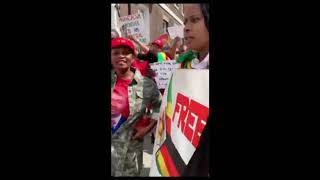 (Longer clip) Foreign Affairs Minister  Sibusiso Moyo Humiliated by Zimbabweans  in London
