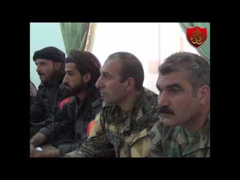 القائد العسكري بندر حميدي الدهام يتلو البيان الختامي للمؤتمر التأسيسي لقوات سوريا الديمقراطية