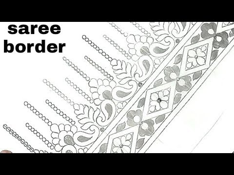 how to draw border design with pencil on paper, drawing saree border,
