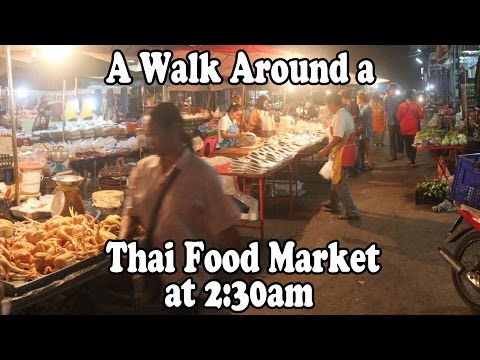 A Thai Food Market in Thailand at 2:30AM. Street food & shopping in the wee hours in Surin