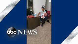 6-year-old girl with cerebral palsy has the sweetest reaction to taking steps unaided | ABC News