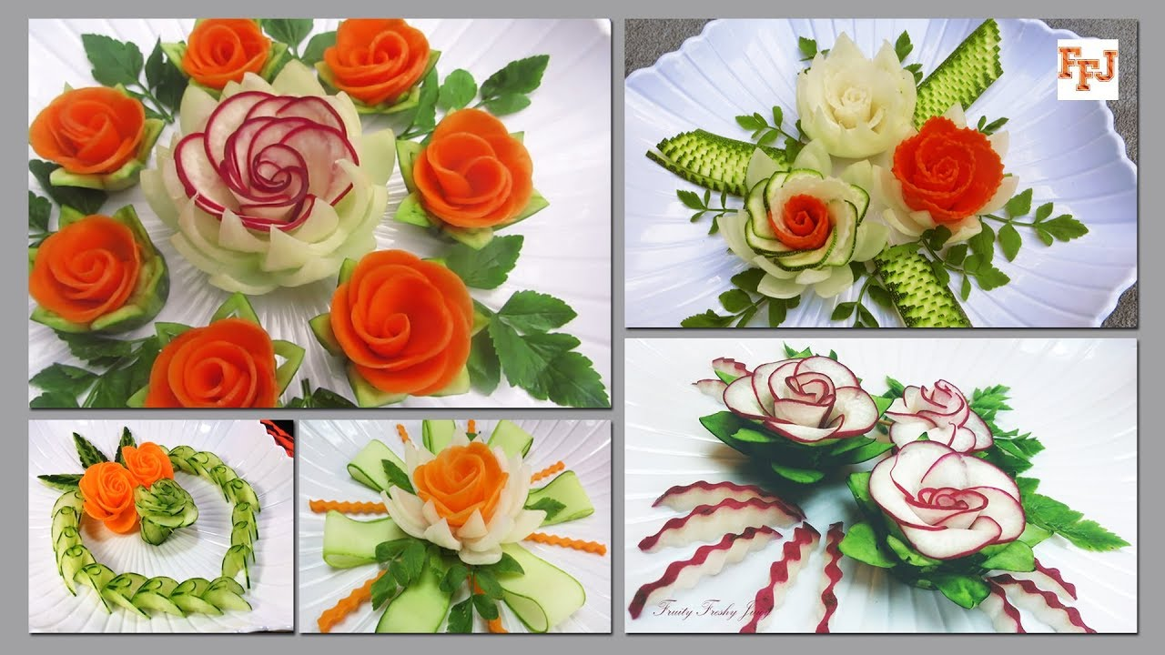 Top 5 Vegetable Garnishes from FFJ - Most Satisfying Veggie Design Videos
