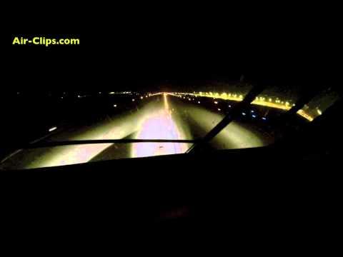 Antonov 225 Mriya COCKPIT front-view night takeoff from Leipzig! [AirClips]