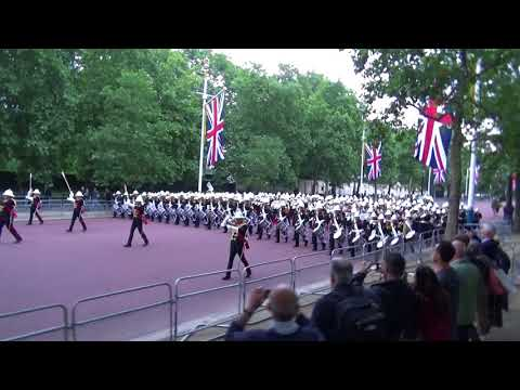 Band of the Royal Marines marching on the Mall London
