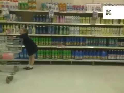 1980s, 1990s UK Supermarket Food Shopping