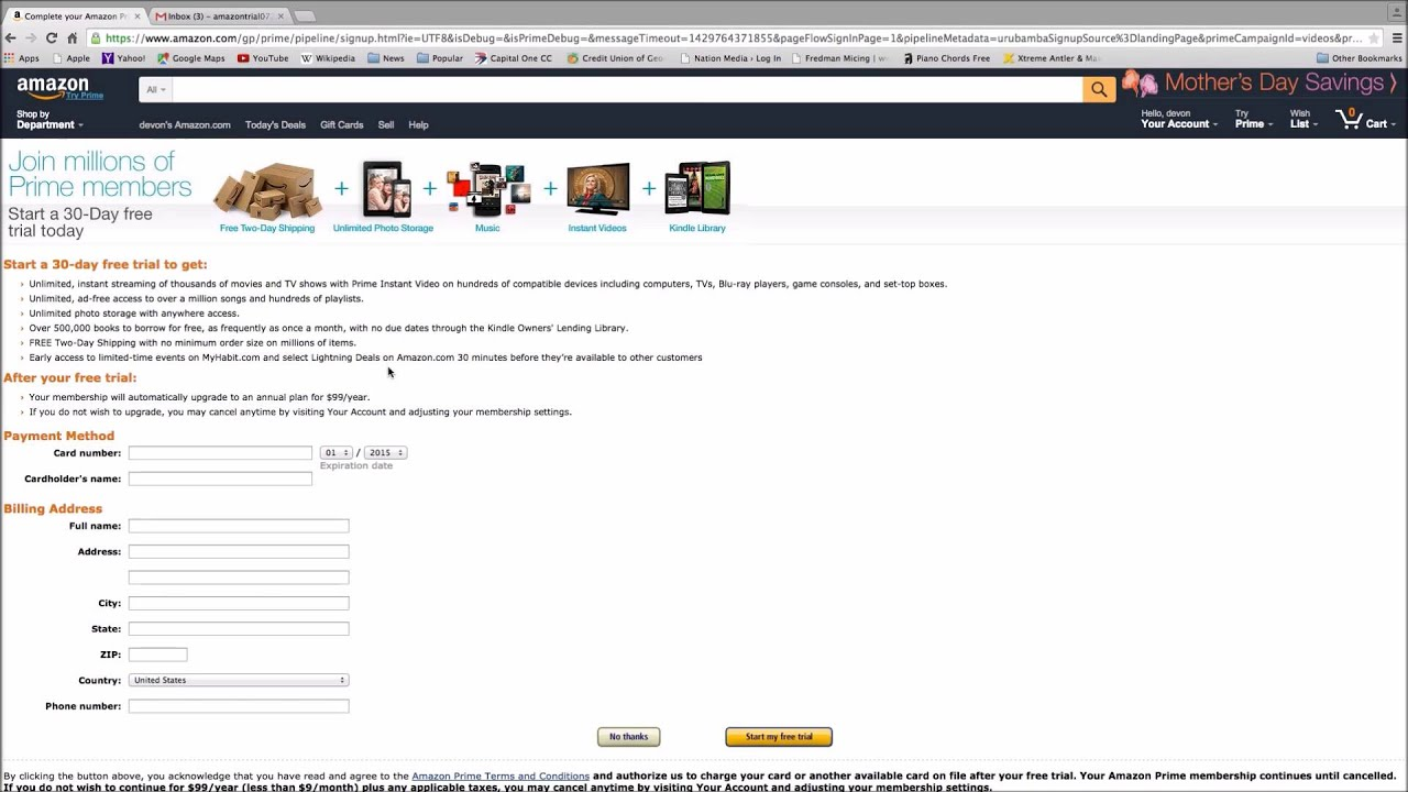 How to set up amazon prime free trial