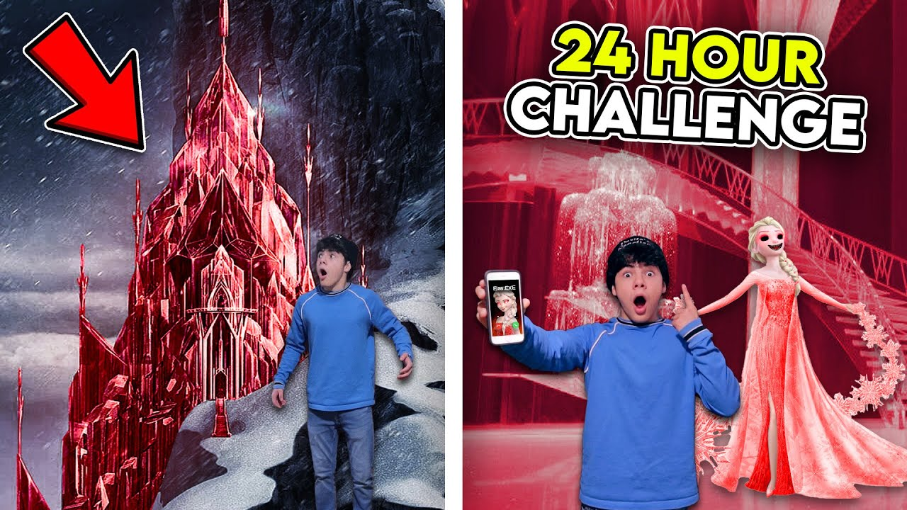 24 HOUR CHALLENGE INSIDE ELSA.EXE'S ICE PALACE IN REAL LIFE!! *SHE FOUND ME*