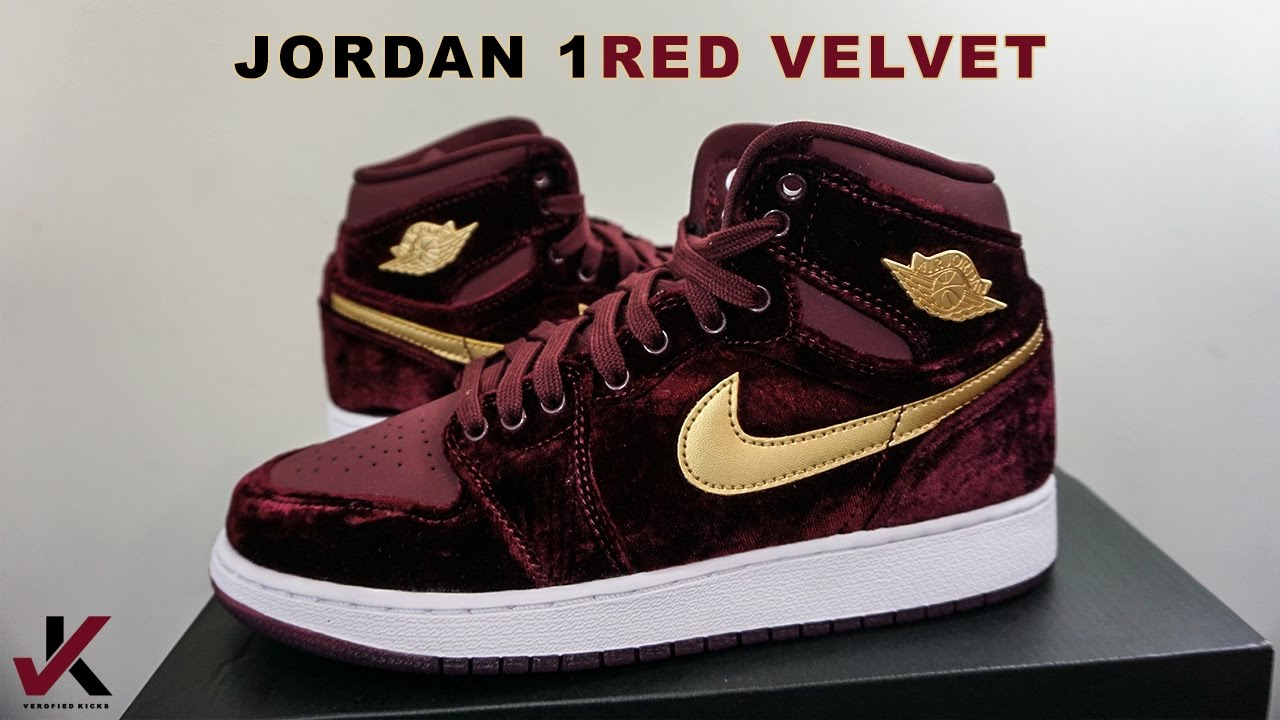 AIR JORDAN 1 RED VELVET 1ST LOOK REVIEW - YouTube 80708c4ef